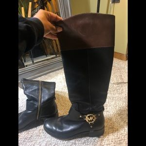 Black and brown Michael Kors rider boots